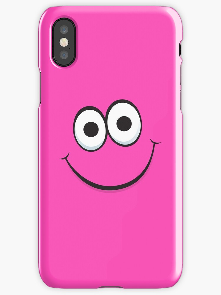 Happy hot pink face iPhone case by Mhea