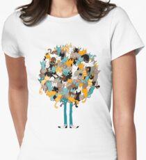 Camiseta entallada para mujer Gatos en hierba gatera