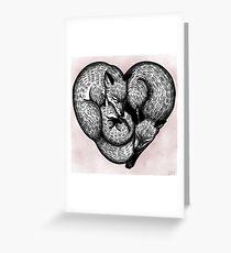 Heart Shaped Fox Family Greeting Card