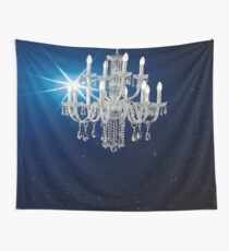 Chandelier - blue star background Wall Tapestry