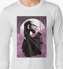 dark gothic black dress woman holding a crow bird in the night T-Shirt