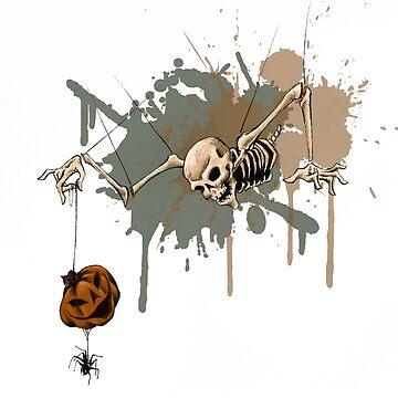 Spooky Skeleton and Jack-o-Lantern for Halloween by SuspendedDreams