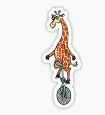 Sunglassed Giraffed Giraffe Unicycle Sticker