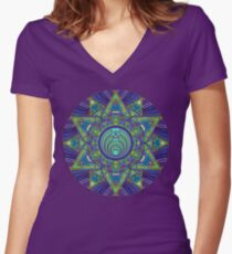 Psychedelic Bassnectar Sacred Mandala Trippy Hallucinogenic  Women's Fitted V-Neck T-Shirt