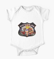 America route 66 with a red street motorcycle.  One Piece - Short Sleeve