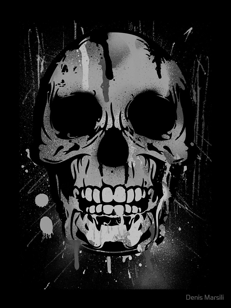 Cool Skull with Paint Drips - Black and White by ddtk