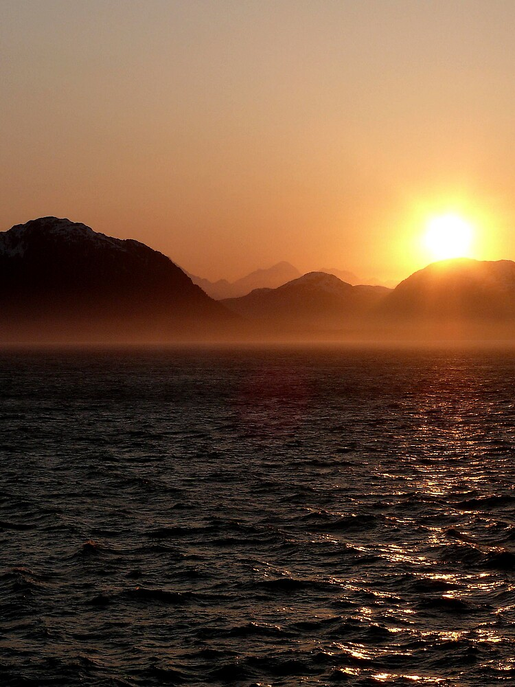 Sunset nearing Juneau, Alaska by Liz Wear