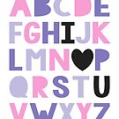 I love you ABCs in pink and purple by creativemonsoon