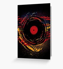 Vinyl Record Retro Grunge with Paint and Scratches - Music DJ! Greeting Card