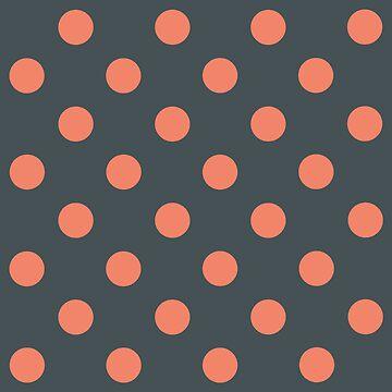 Coral and Grey Polka Dots | Pattern  by koovox