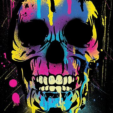 Cool Skull with Colorful Paint Drips and Splatters  by ddtk