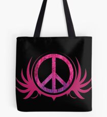 Peace Sign with Grunge Texture and Wings Tote Bag