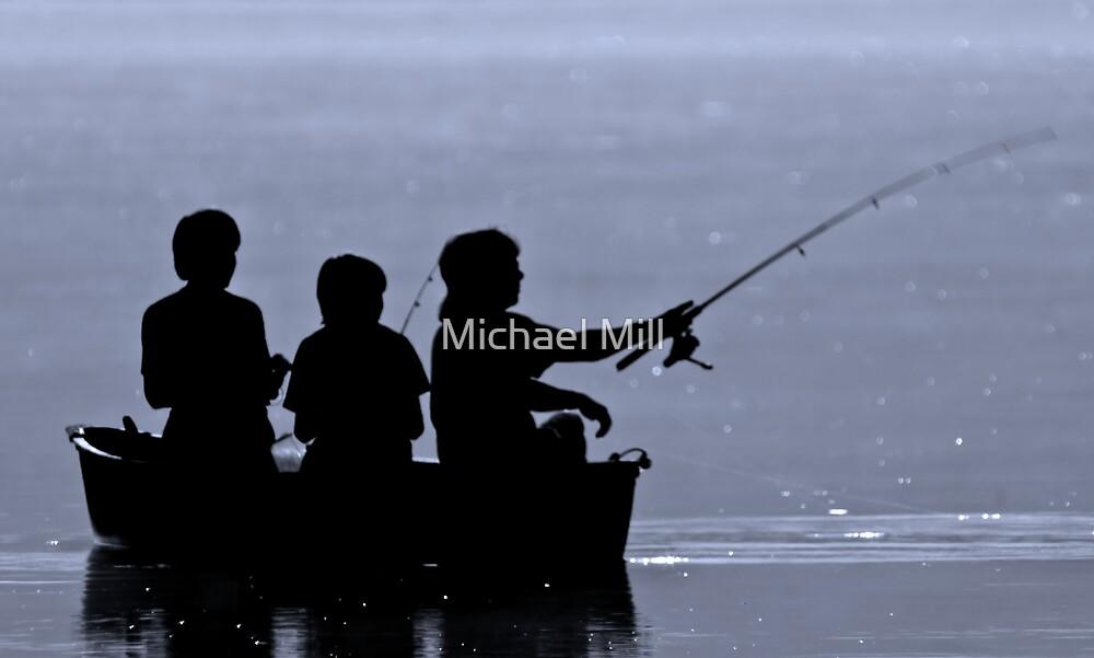 Three boys fishing by Michael Mill
