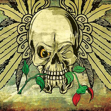 Cool Skull with Wings and Dead Rose by ddtk