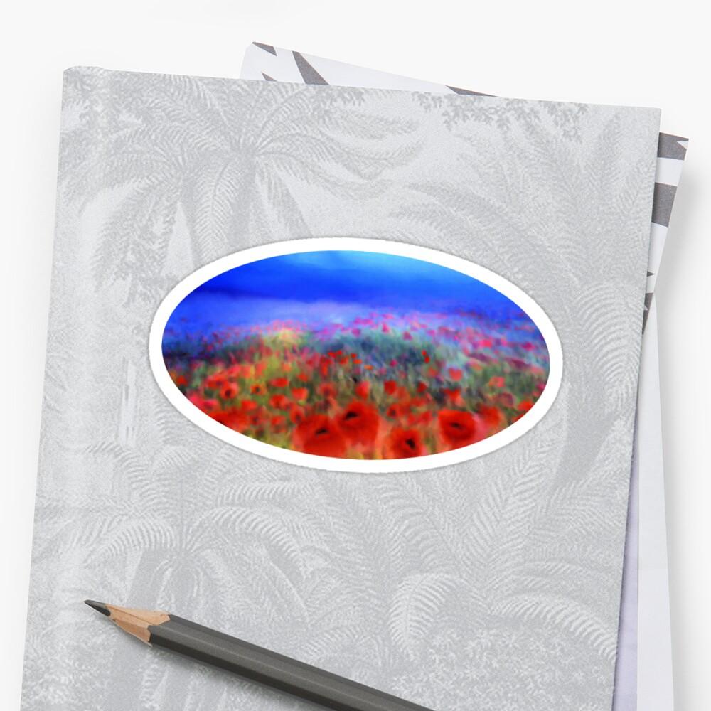 Poppies in the mist  Sticker