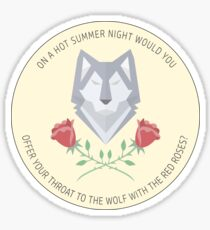 wolf and roses Sticker