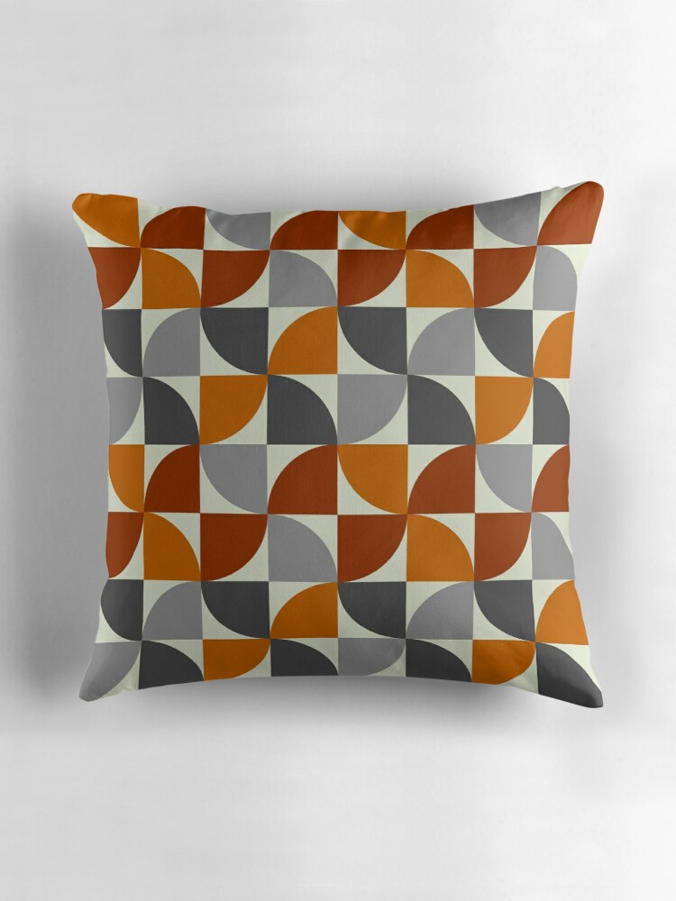 "Grey and Orange Mid Century Modern"" Throw Pillows by boodapug"