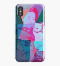 Japanese girl in a kimono with a cat in a geometric style iPhone Case/Skin