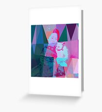 Japanese girl in a kimono with a cat in a geometric style Greeting Card