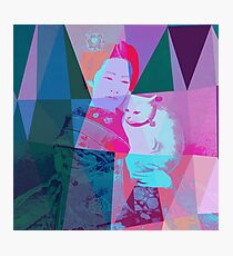 Japanese girl in a kimono with a cat in a geometric style Photographic Print