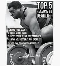 Top 5 Reasons To Deadlift - Back Day Infographic Poster
