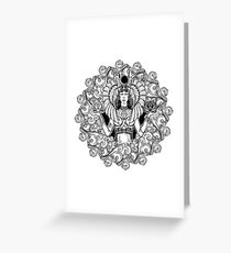 Zodiac sign Libra. Egyptian goddess Isis balancing in hands black and white lotus as a symbol of equilibrium. Decorative frame of clouds. Greeting Card