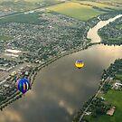 Hot Air Balloons Flyover the Richelieu River in Quebec Canada by Georgia Mizuleva