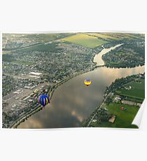 Hot Air Balloons Flyover the Richelieu River in Quebec Canada Poster