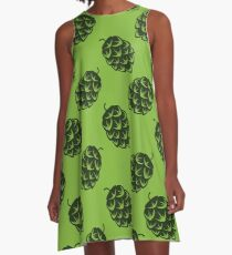 Seamless pattern with green beer hops A-Line Dress