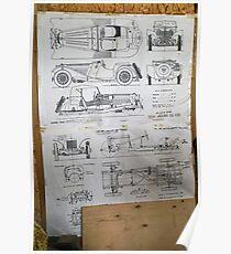Vintage Car data sheet 1939 Jaguar SS-100 Poster