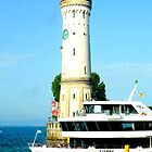 Lindau Harbour Lighthouse and Boat  by ©The Creative  Minds