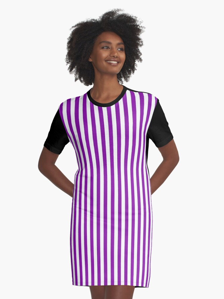 230e7e0ad6 Women's Purple and White Vertical Striped Mini Skirt Graphic T-Shirt Dress