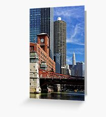 Chicago river cruise view towards  La Salle Street Bridge Greeting Card