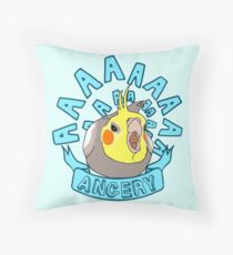 ANGERY - cockatiel Throw Pillow