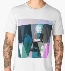 Little smoking boy with a cock on an old vintage postcard Men's Premium T-Shirt