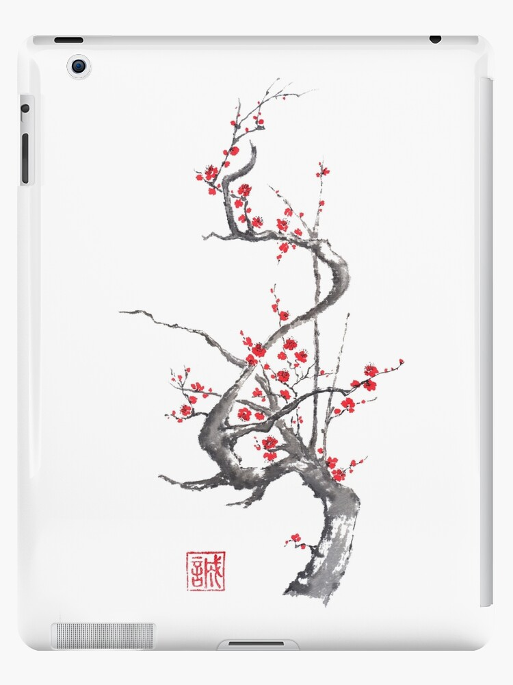 Chinese plum tree blossom sumi-e painting by Maryna Sokolyan