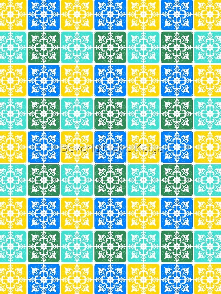 Trendy Resort Fashion Botanical Mediterranean Tiles by beverlyclaire