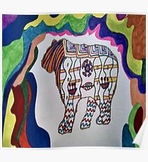 Abstract Grizzly Bear Zentangle Art Poster