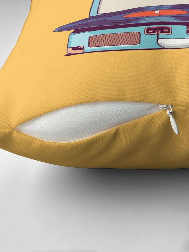 Alternate view of Blue Vinyl Record Player Throw Pillow