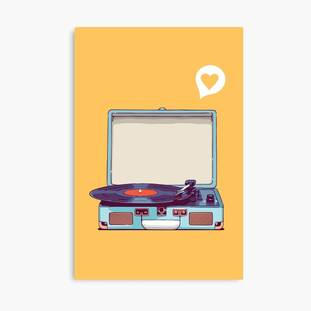 Blauer Vinyl-Plattenspieler Leinwanddruck