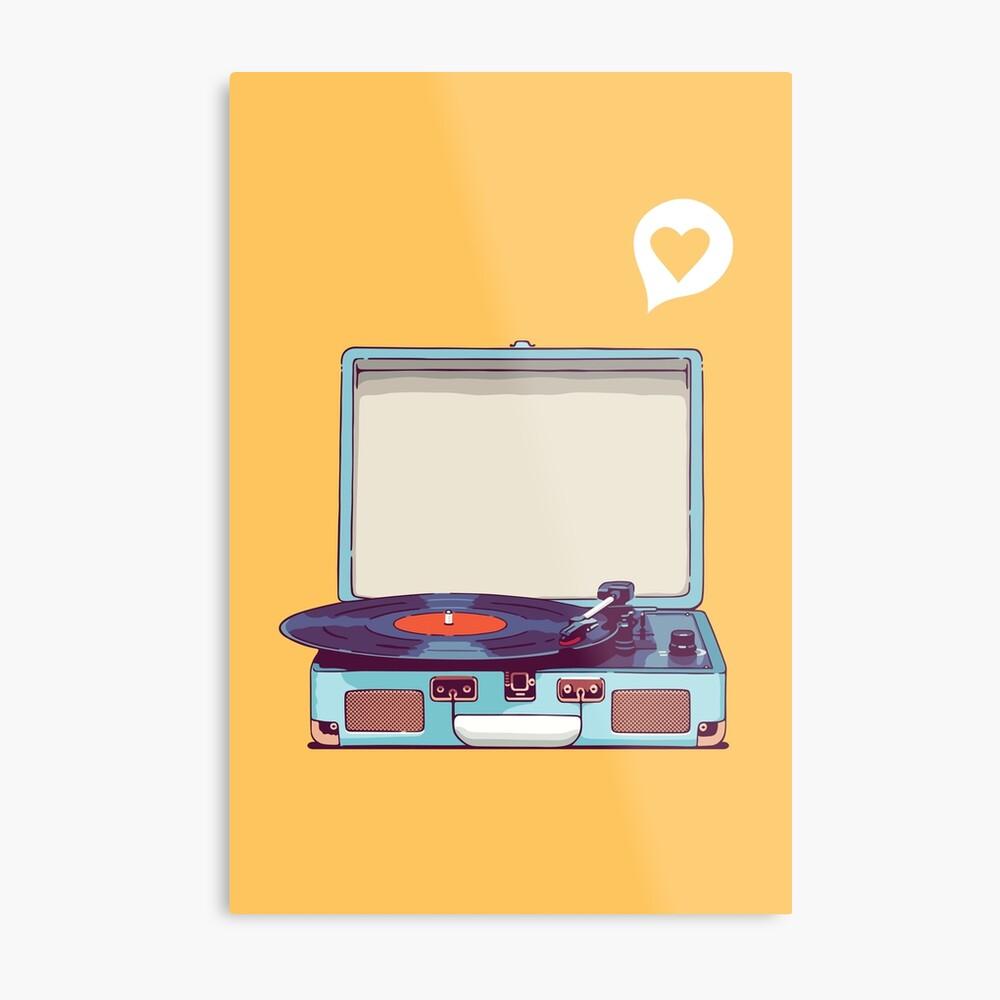 Blue Vinyl Record Player Metal Print