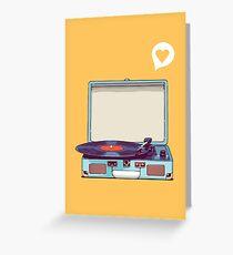 Blue Vinyl Record Player Greeting Card