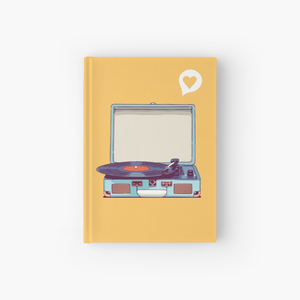 Blue Vinyl Record Player Hardcover Journal