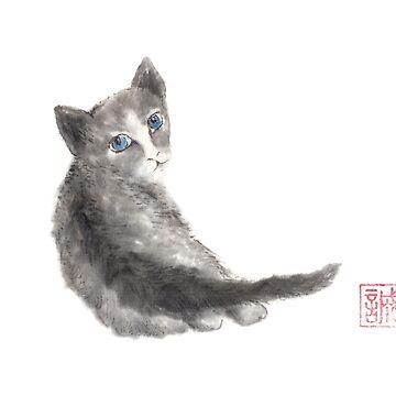 Innocent wonder sumi-e painting by Umi-ko