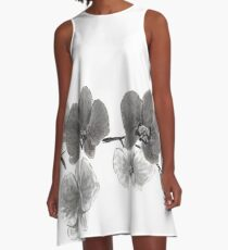 Curious orchid sumi-e painting  A-Line Dress