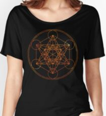 Metatron's Cube [The Red Moon] | Sacred Geometry Women's Relaxed Fit T-Shirt