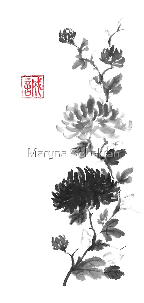 Flower scroll of light and shadow sumi-e painting by Maryna Sokolyan