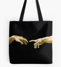 Touch of God, The Creation of Adam, (close up), Michelangelo, 1510, Genesis, Ceiling, Sistine Chapel, Rome, on BLACK Tote Bag
