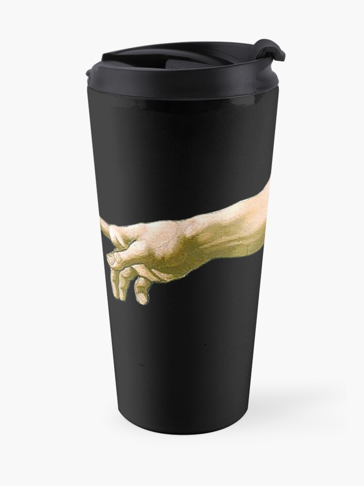 Alternate view of  Touch of God, The Creation of Adam, (close up), Michelangelo, 1510, Genesis, Ceiling, Sistine Chapel, Rome, on BLACK Travel Mug