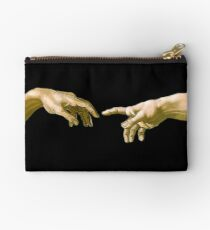 Touch of God, The Creation of Adam, (close up), Michelangelo, 1510, Genesis, Ceiling, Sistine Chapel, Rome, on BLACK Studio Pouch